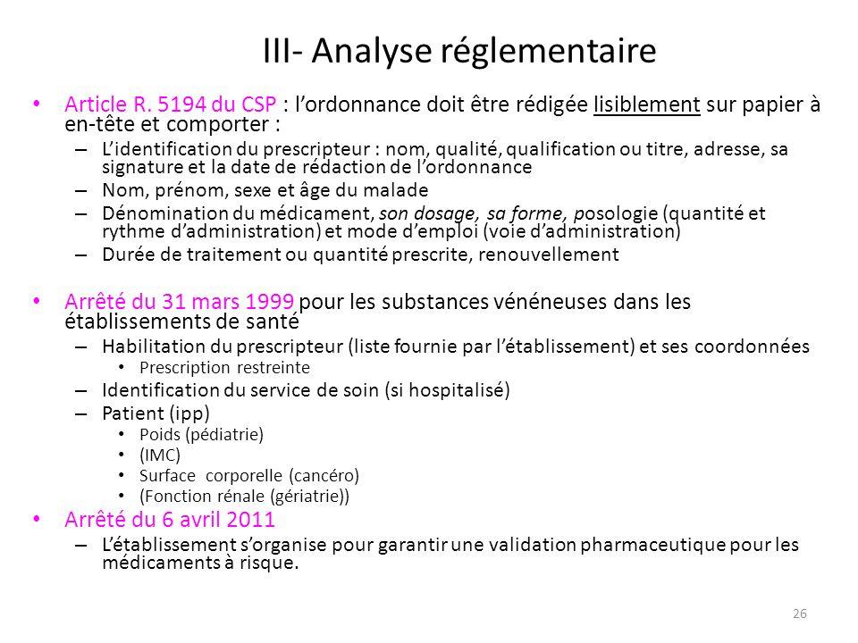 III- Analyse réglementaire