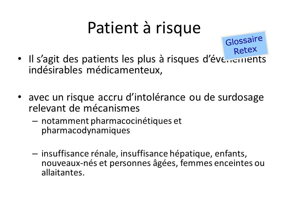 Patient à risque Glossaire. Retex. Il s'agit des patients les plus à risques d'événements indésirables médicamenteux,