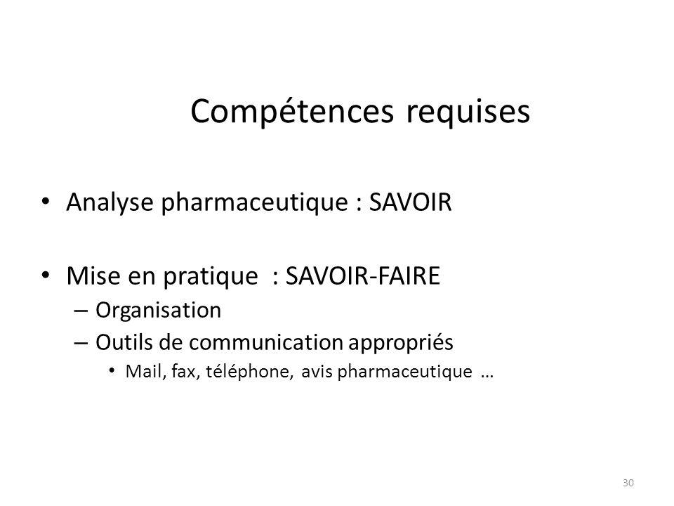 Compétences requises Analyse pharmaceutique : SAVOIR