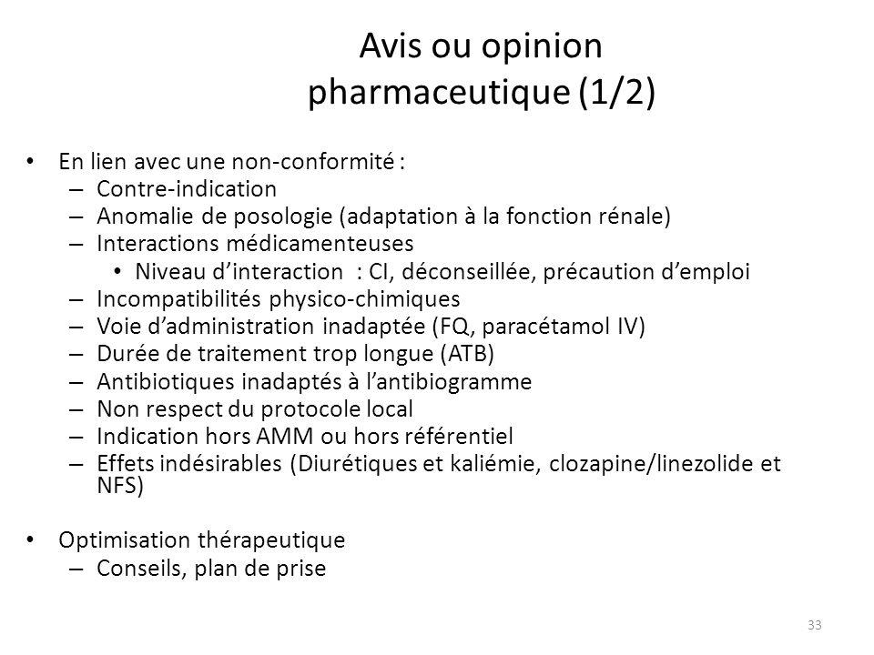 Avis ou opinion pharmaceutique (1/2)