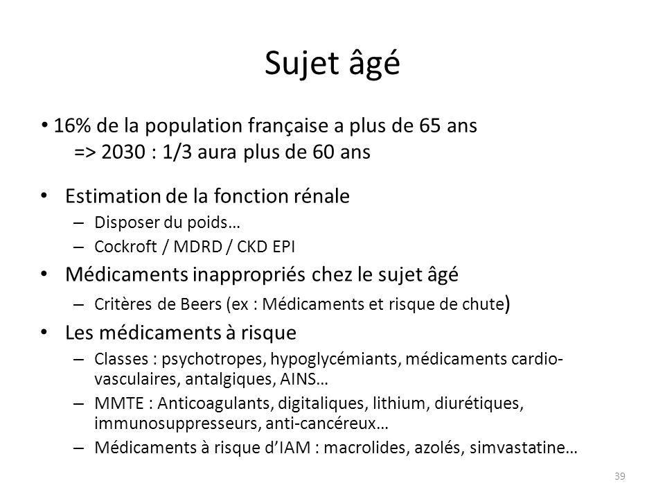 Sujet âgé 16% de la population française a plus de 65 ans