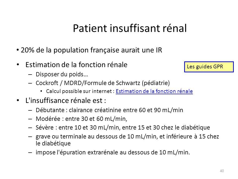 Patient insuffisant rénal