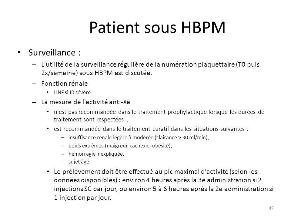 Patient sous HBPM Surveillance :