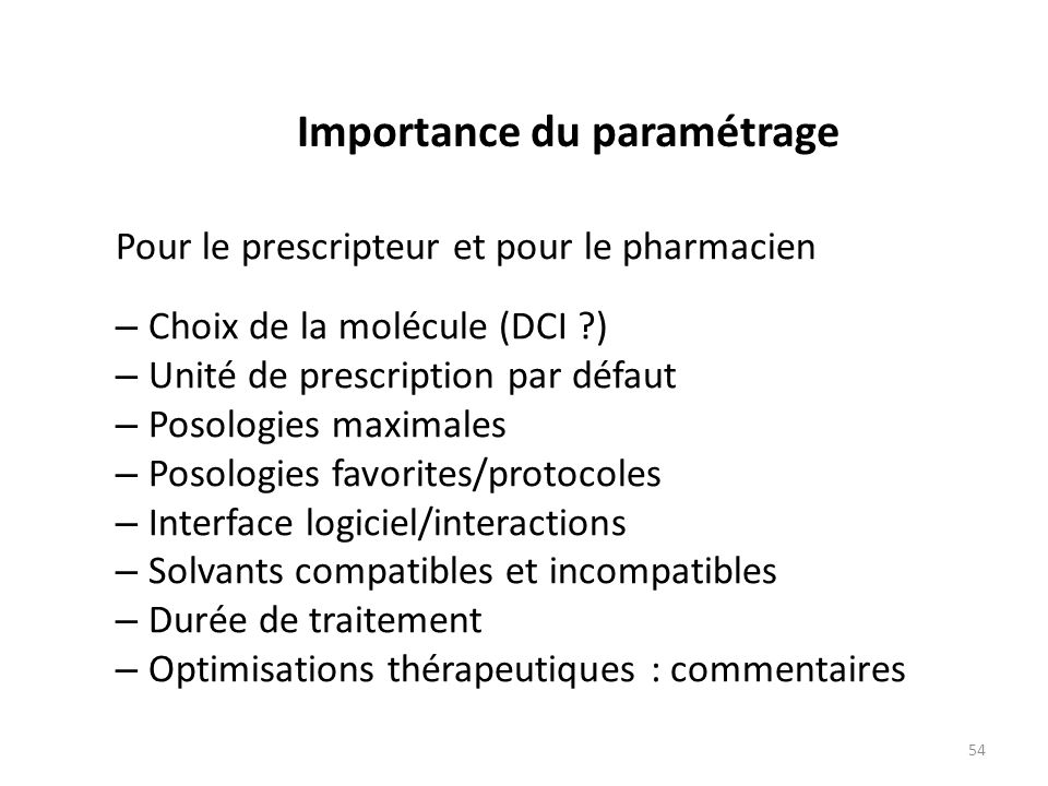 Importance du paramétrage