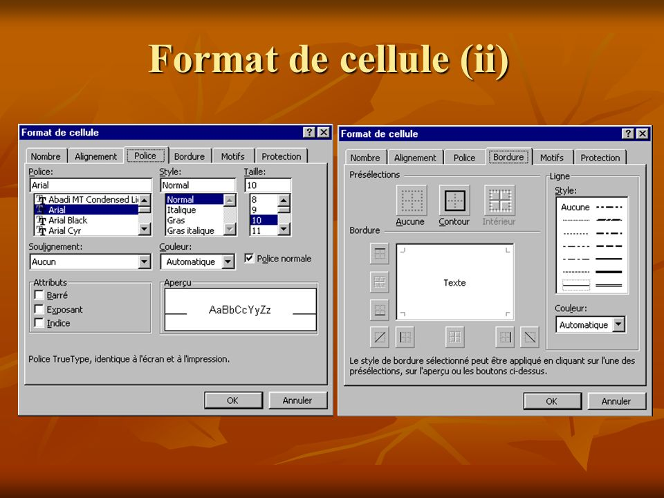 Format de cellule (ii)
