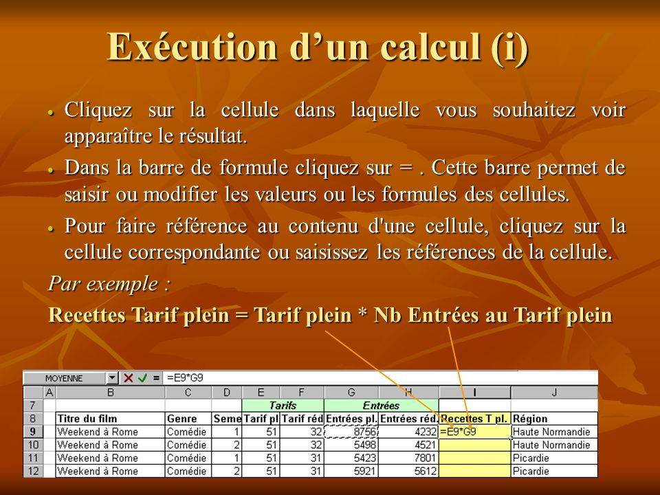 Exécution d'un calcul (i)