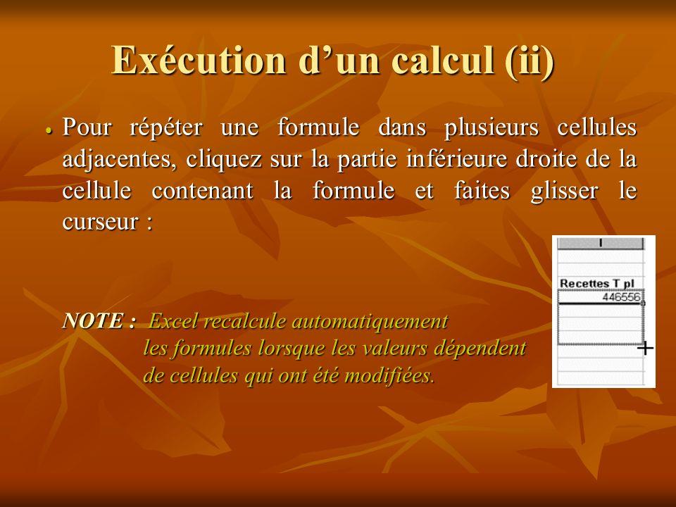 Exécution d'un calcul (ii)