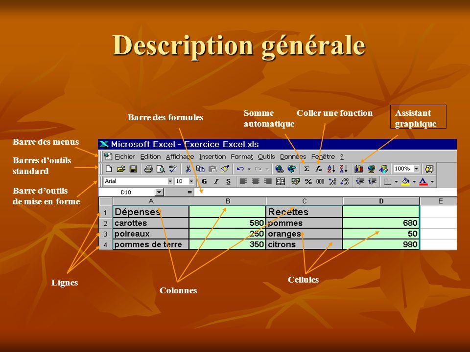 Description générale Barre des menus Barres d'outils standard