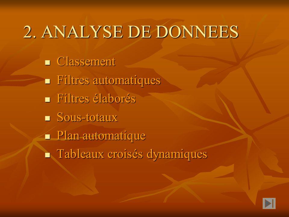 2. ANALYSE DE DONNEES Classement Filtres automatiques Filtres élaborés