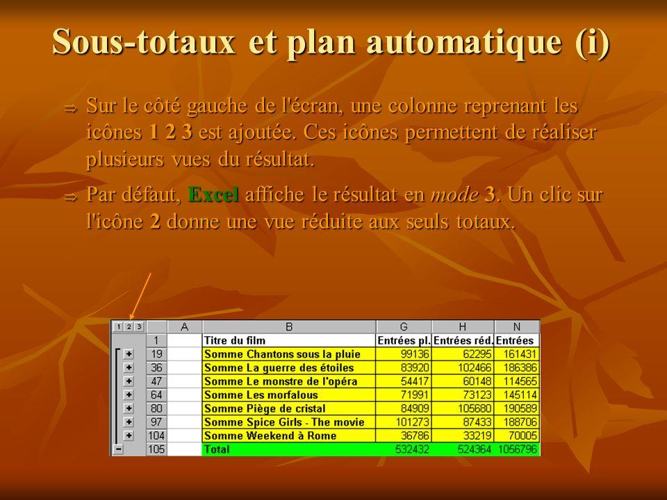 Sous-totaux et plan automatique (i)