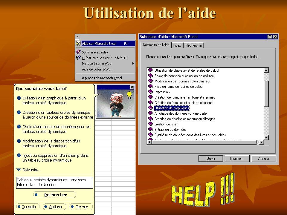 Utilisation de l'aide HELP !!!