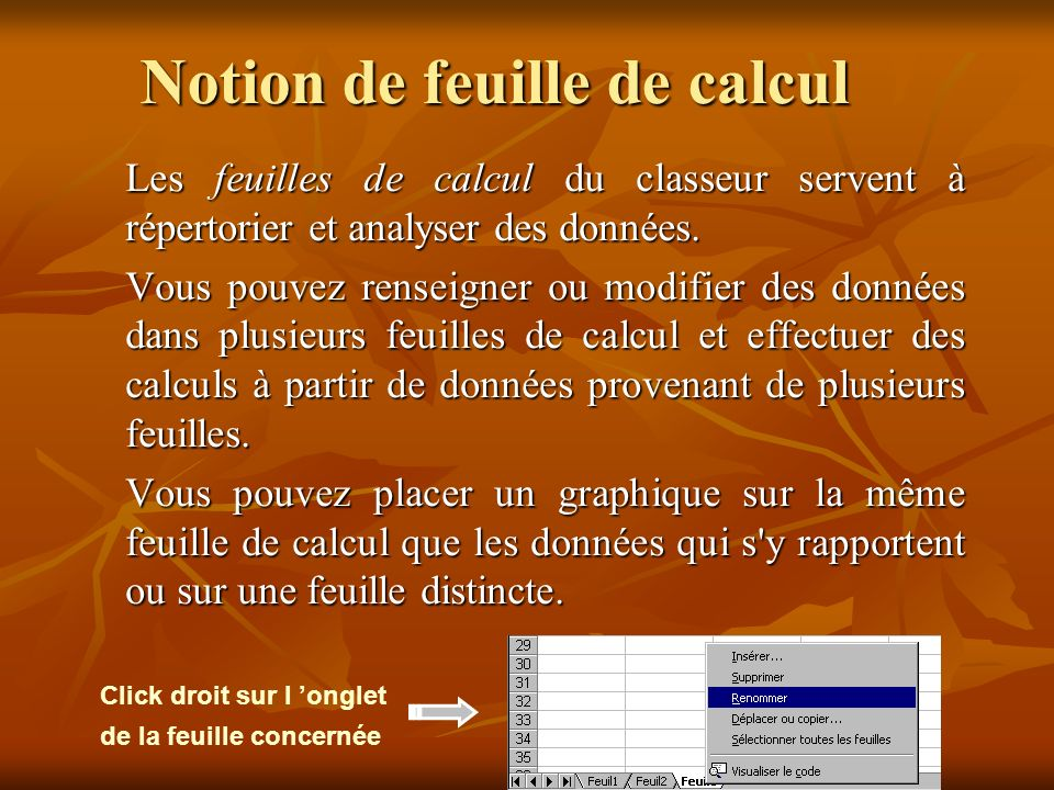 Notion de feuille de calcul