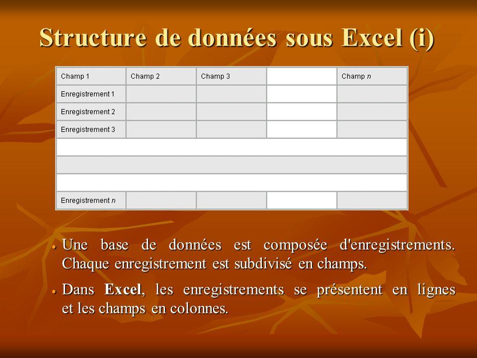 Structure de données sous Excel (i)