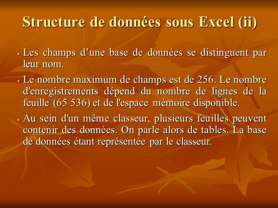 Structure de données sous Excel (ii)