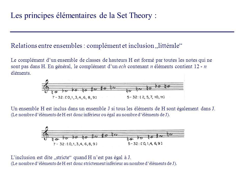 Les principes élémentaires de la Set Theory :