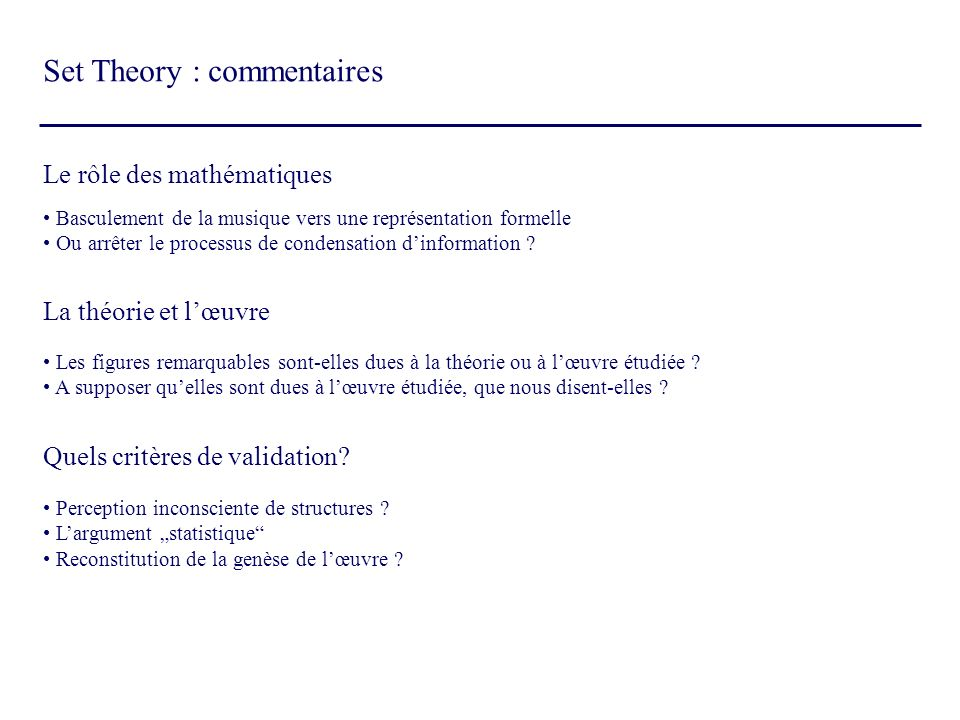 Set Theory : commentaires