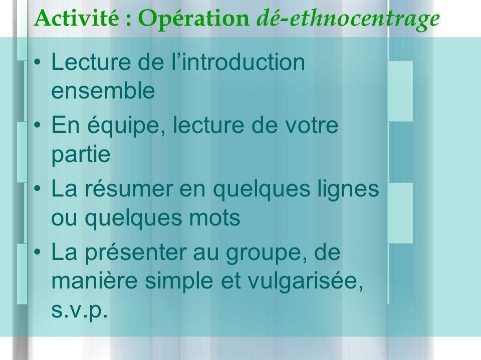 Activité : Opération dé-ethnocentrage