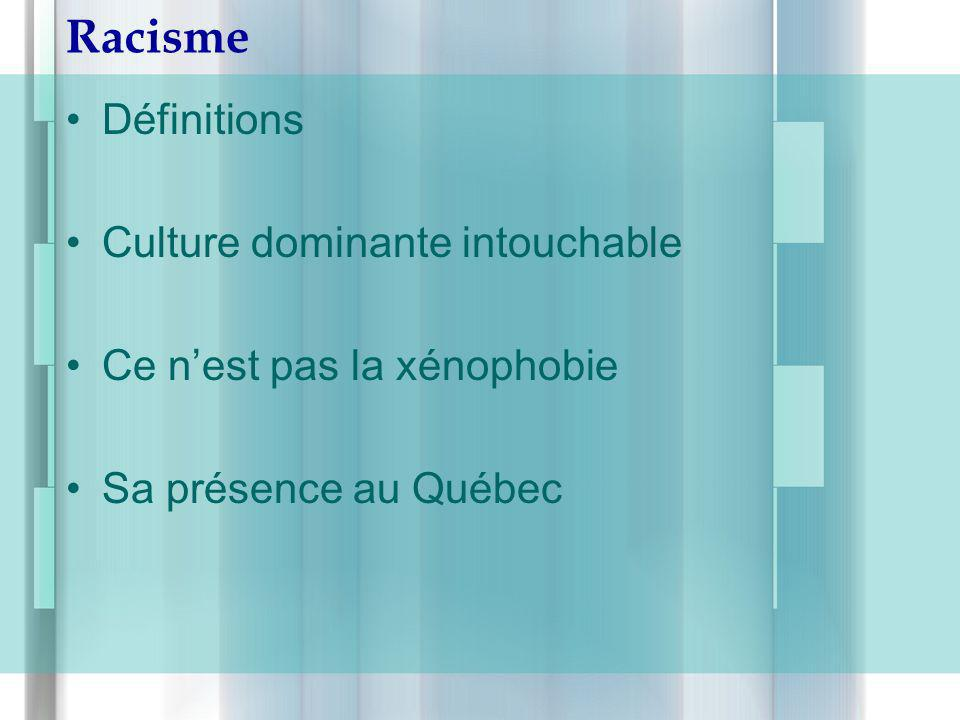Racisme Définitions Culture dominante intouchable