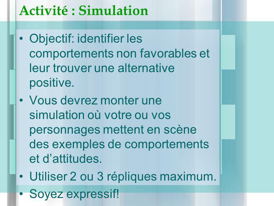 Activité : Simulation Objectif: identifier les comportements non favorables et leur trouver une alternative positive.