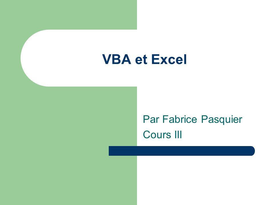 Par Fabrice Pasquier Cours III