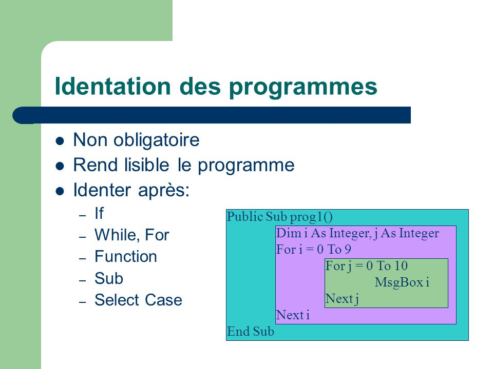 Identation des programmes