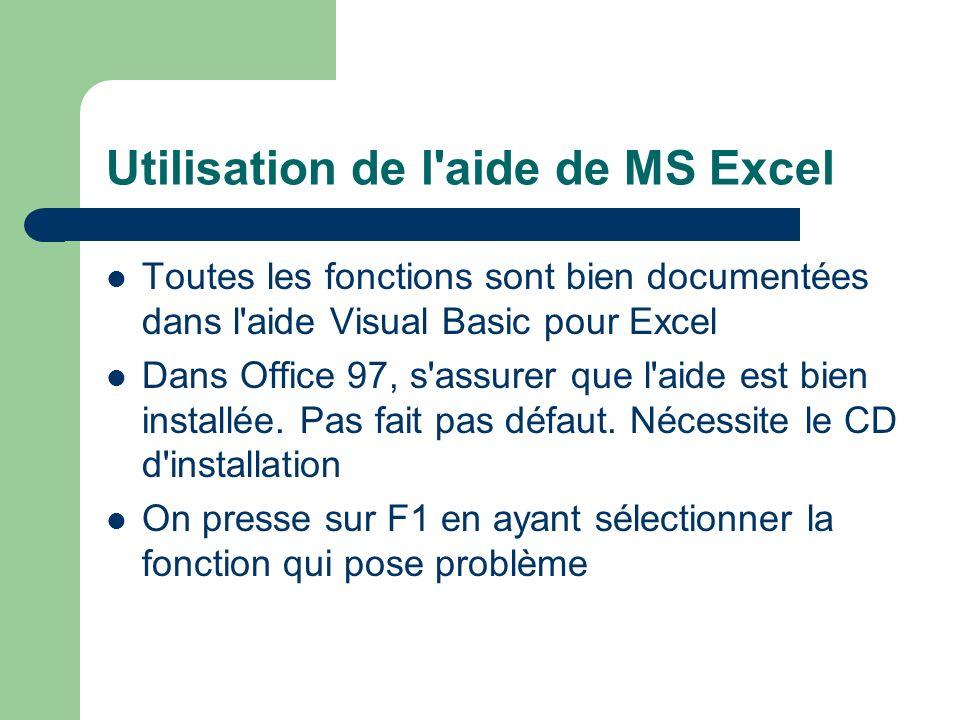 Utilisation de l aide de MS Excel