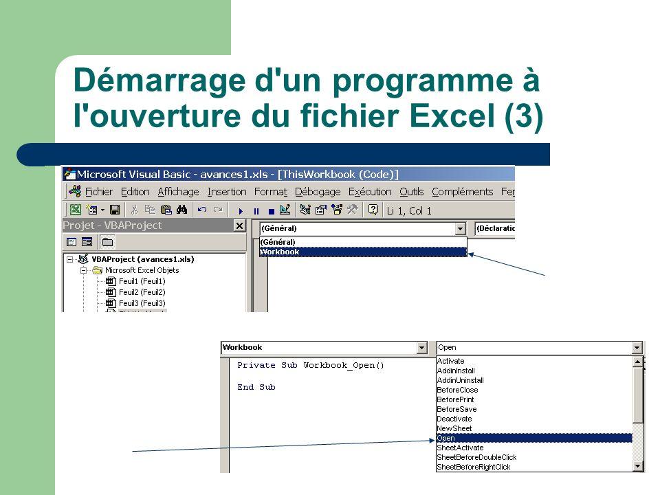 Démarrage d un programme à l ouverture du fichier Excel (3)