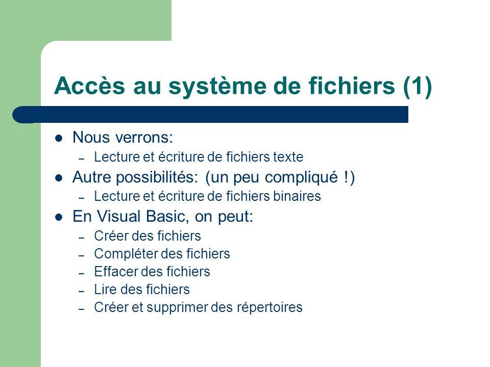 Accès au système de fichiers (1)