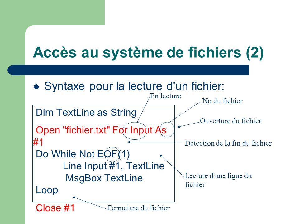 Accès au système de fichiers (2)