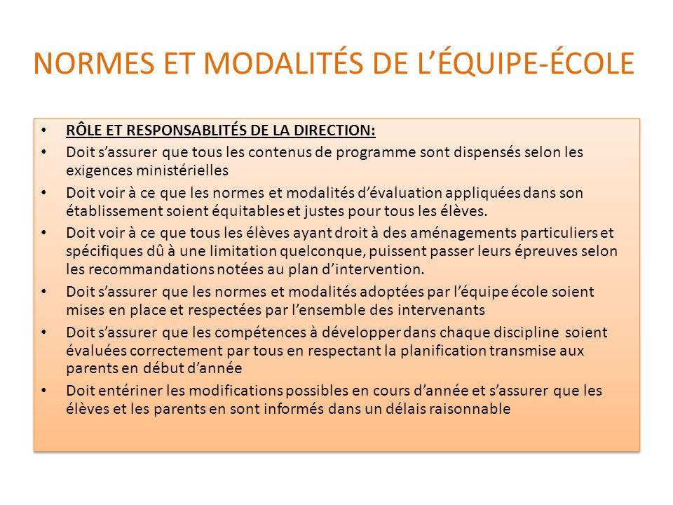 NORMES ET MODALITÉS DE L'ÉQUIPE-ÉCOLE