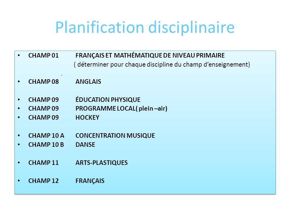 Planification disciplinaire