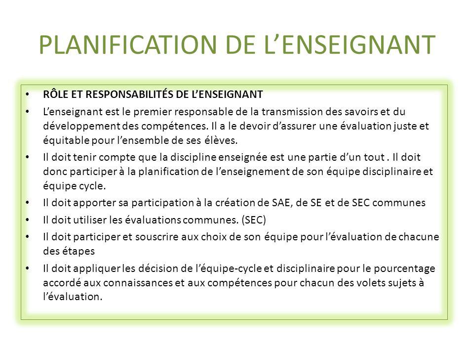PLANIFICATION DE L'ENSEIGNANT