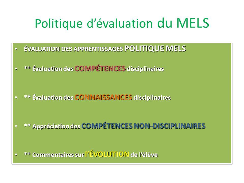 Politique d'évaluation du MELS