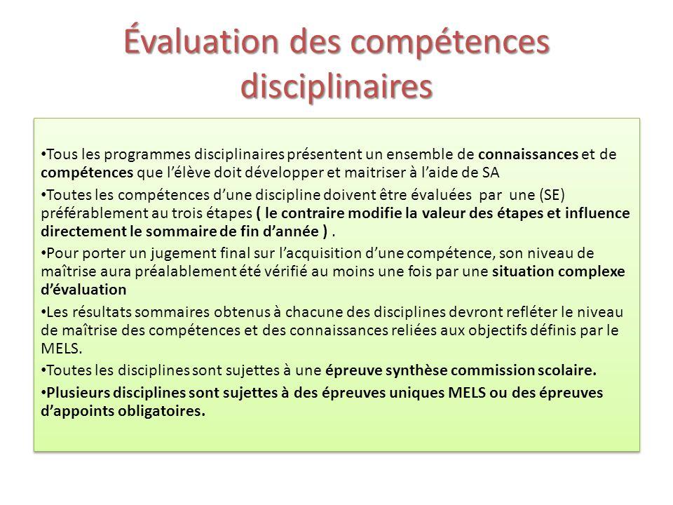 Évaluation des compétences disciplinaires