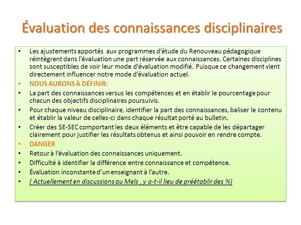 Évaluation des connaissances disciplinaires