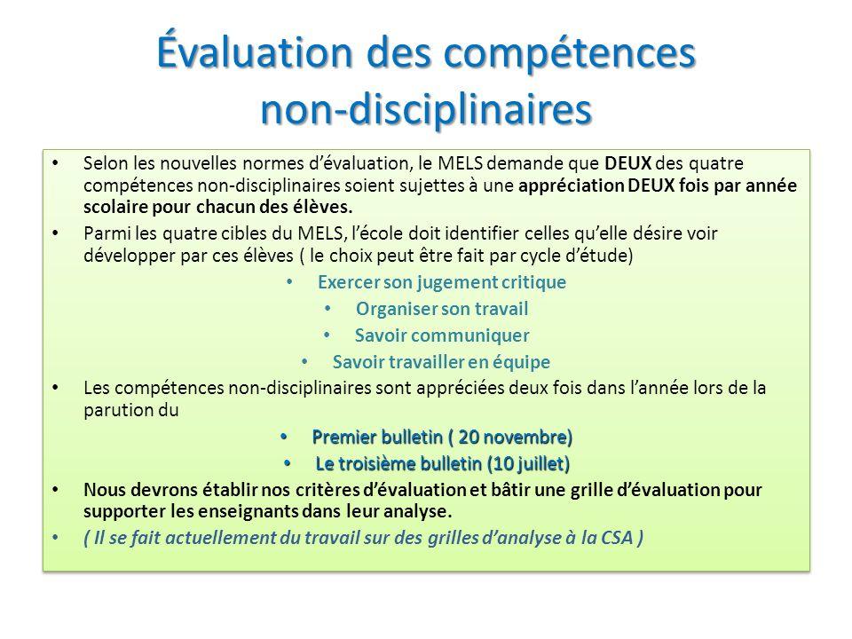 Évaluation des compétences non-disciplinaires