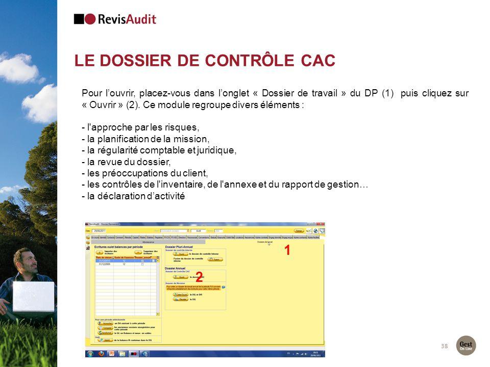 LE DOSSIER DE CONTRÔLE CAC