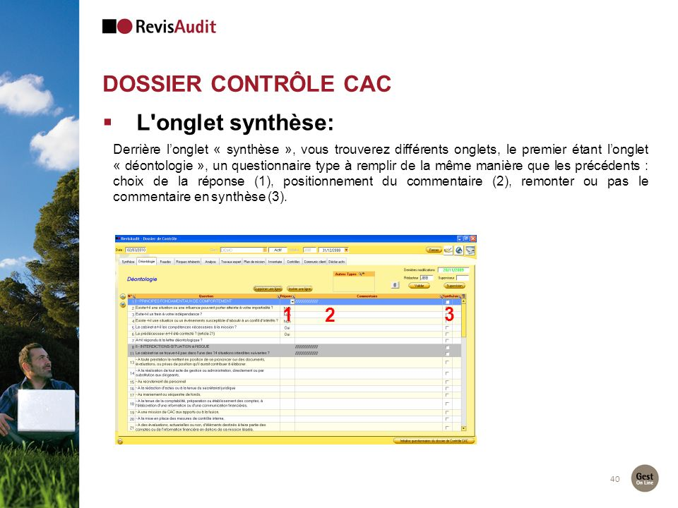 DOSSIER CONTRÔLE CAC L onglet synthèse: 1 2 3