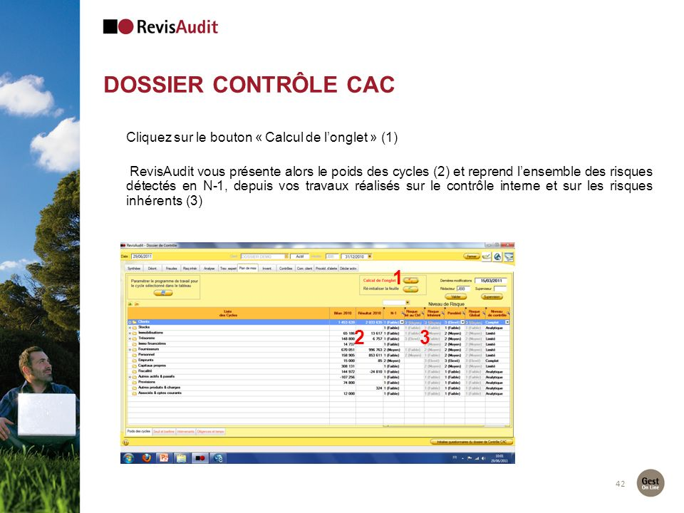 DOSSIER CONTRÔLE CAC Cliquez sur le bouton « Calcul de l'onglet » (1)