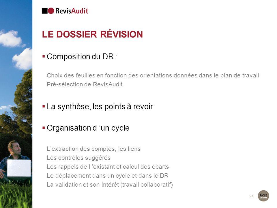 Le dossier révision Composition du DR :