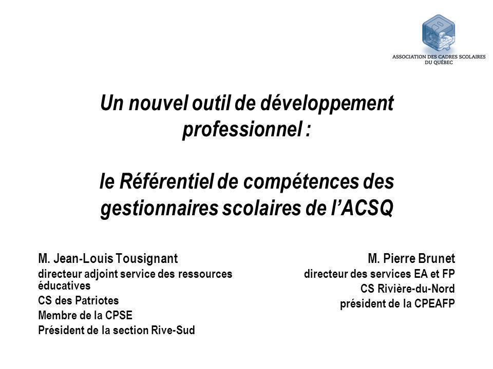 Un nouvel outil de développement professionnel : le Référentiel de compétences des gestionnaires scolaires de l'ACSQ
