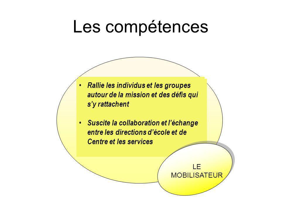 Les compétences Savoir agir de façon éthique en soutien à la mission de l'école et du centre dans le respect des encadrements.