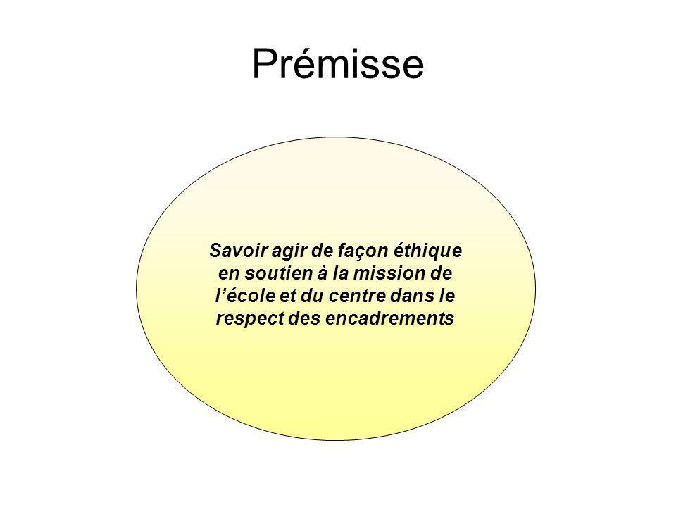 Prémisse Savoir agir de façon éthique en soutien à la mission de l'école et du centre dans le respect des encadrements.