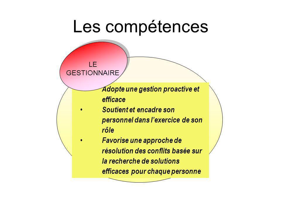 Les compétences LE GESTIONNAIRE. Savoir agir de façon éthique en soutien à la mission de l'école et du centre dans le respect des encadrements.