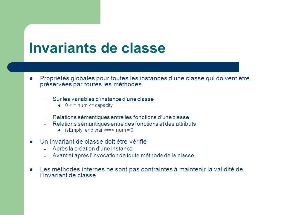 Invariants de classe Propriétés globales pour toutes les instances d'une classe qui doivent être préservées par toutes les méthodes.