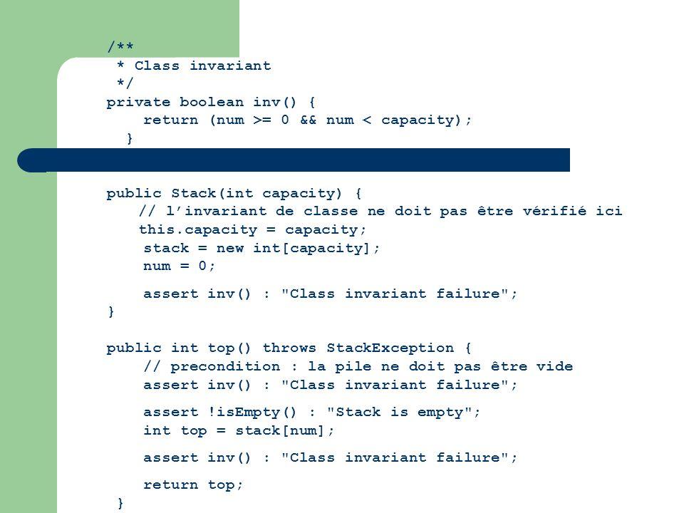 /** * Class invariant. */ private boolean inv() { return (num >= 0 && num < capacity); } public Stack(int capacity) {