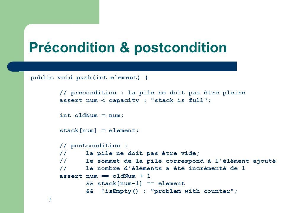 Précondition & postcondition