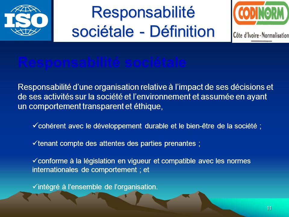 Responsabilité sociétale - Définition