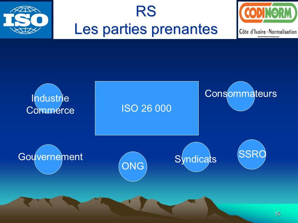 RS Les parties prenantes Consommateurs Industrie ISO 26 000 Commerce