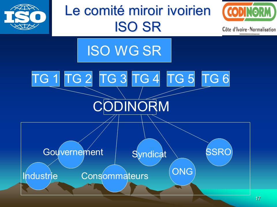 Le comité miroir ivoirien ISO SR